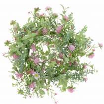 Wiesenkranz mit Klee beflockt Rosa, grün Ø30cm