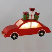 Weihnachts-Auto mit LED Rot Metall 25cm H14,5cm Für Batterie.