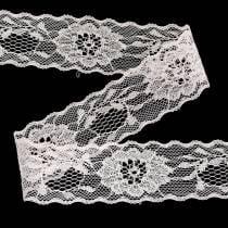Spitzenband Floral mit Wellenrand Rosa 40mm 20m
