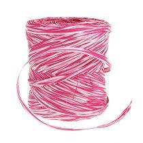 Bast als Geschenkband Rosa-Weiß 200m