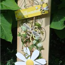 Deko zum Hängen Bienen Gelb, Weiß, Golden Holz Sommerdeko 6St
