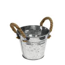 Blecheimer mit Seilgriffen glänzend Ø12cm