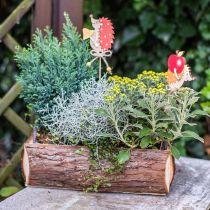 Blumenkasten, Holzkiste mit Rinde, Pflanztopf mit Griffen 38cm