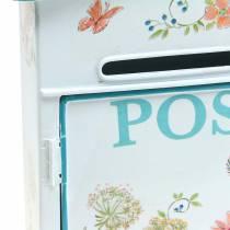 Deko Briefkasten mit Blumen Metall Weiß 27x10cm H31cm