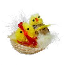 Chenille-Küken im Nest Gelb 5cm 4St