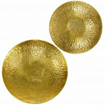 Goldene Dekoschale Metall Ø35/46cm 2er-Set