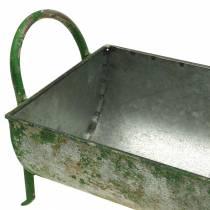 Deko-Zinktrog zum Bepflanzen mit Griffen Grau, Grün 60/43cm 2er-Set