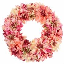 Dahlienblütenkranz Rosa, Creme Ø42cm