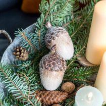 Deko-Eicheln beschneit, Keramikdeko, Advent, winterliche Herbstdeko L9,5 4St