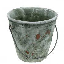 Pflanzeimer, Gartendeko, Eimer aus Keramik, Pflanzgefäß Antik Optik Ø16cm H13,5cm