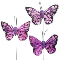 Deko-Schmetterling am Draht Lila 7cm 24St