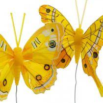 Deko-Schmetterlinge Gelb Federschmetterling am Draht 7,5cm 6St