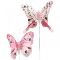 Deko-Schmetterlinge Rosa Federschmetterling am Draht 7,5cm 6St