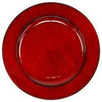 Deko Teller Plastik Ø28cm Rot-Schwarz