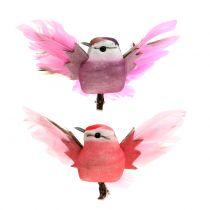 Deko-Vögel am Clip Rosa/Lila 9cm 8St