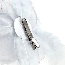 Deko-Rose am Clip Ø10cm Silber 2St