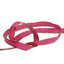 Dekoband Pink mit Drahtkante 15mm 15m