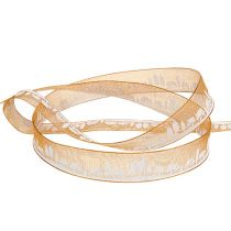 Dekoband mit Wintermotiv Orange-Weiß 15mm 20m