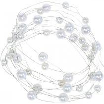 Dekodraht, Perlenkette zum Dekorieren, Hochzeitsdeko, Perlenband, Girlande 2,5m