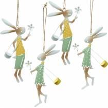 Dekofiguren Hasenpärchen, Metalldeko, Osterhasen zum Aufhängen, Frühlingsdeko 4St
