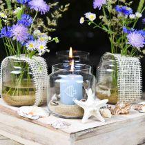 Dekoglas, Blumenvase, Glas-Windlicht, Tischdeko Ø10cm H10cm 6St