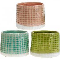 Dekotöpfe mit Korbmuster, Pflanzgefäß, Keramik-Übertopf Mint/Grün/Rosa Ø13cm 3St