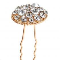 Haarnadel Hochzeit Gold mit Strasssteinen 7cm 9St