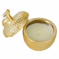 """Duftkerze """"Spiced Apple"""" in Apfelschmuckdose Gold Ø7,2cm H8,5cm"""