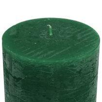 Durchgefärbte Kerzen Dunkelgrün 50x100mm 4St