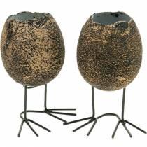 Eierschale zum Bepflanzen mit Beinen, Osterei, Ei mit Vogelfüßen, Osterdeko Schwarz Golden 4St