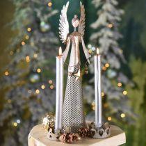Deko Engel Figur mit Girlande Weihnachten Metall 13×8,5cm H40cm