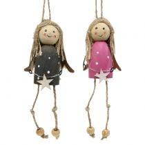 Engel aus Holz zum Hängen Grau, Pink 7,5cm 6St