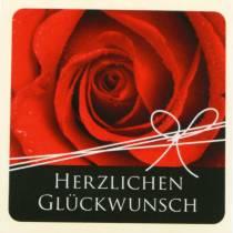 """Etiketten """"Herzlichen Glückwunsch"""" Rose 3,5cm x 3,5cm 500St"""