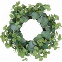 Deko Kranz Eukalyptus Grün Weiße Blüten künstlich Ø45cm