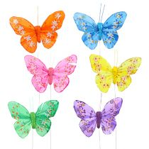 Feder-Schmetterling 8,5cm bunt sort. 12St