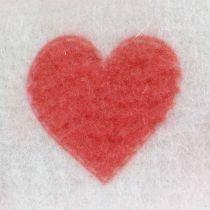 Filzband Weiß mit Herz 15cm 2m