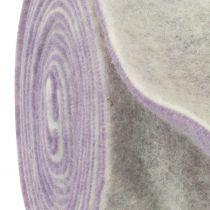 Filzband 15cm x 5m zweifarbig Helllila, Weiß