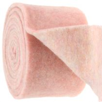 Filzband, Topfband zweifarbig weiß/rosa 15cm 5m