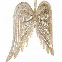 Engelsflügel, Metalldeko zum Hängen, Christbaumschmuck Golden, Antik-Optik H11,5cm B11cm 3St