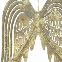 Weihnachtsdeko-Engelsflügel, Metalldeko, Flügel zum Hängen Golden, Antik-Optik H29,5cm B28,5cm
