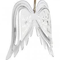 Engelsflügel zum Hängen, Weihnachtsdeko, Metallanhänger Weiß H11,5cm B11cm 3St
