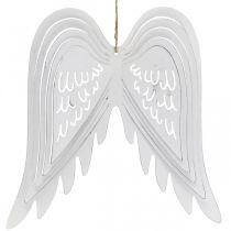 Flügel zum Hängen, Adventsdeko, Engelsflügel aus Metall Weiß H29,5cm B28,5cm