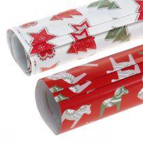 Geschenkpapier Weihnachten Rot, Weiß 4 Bögen im Set 50×70cm