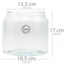 Glaswindlicht, Dekovase, Kerzendeko Ø18,5cm H21cm