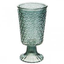 Windlicht mit Fuß, Pokalglas, Deko-Glas Grau Ø10cm H18,5cm