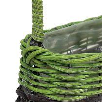 Henkelkorb oval 23cm x 12cm H16cm Grün-Braun