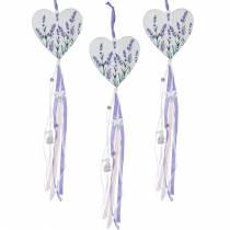 Herz mit Lavendelmotiv zum Hängen, Hochzeit, Mediterrane Sommerdeko, Valentinstag, Lavendelherz 4St