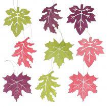 Holz Blätter Mix zum Hängen bunt sortiert 15cm 9St