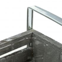 Holzkasten Grau 20cm x 9cm H6cm mit Griffen