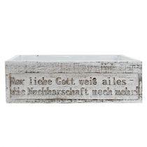 Holzkiste mit Spruch Weiß 38cm x 21cm H12cm